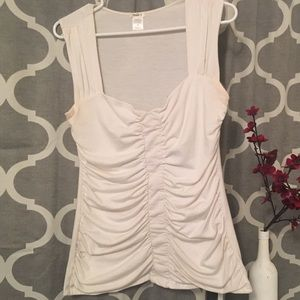 Ruched Tank Top with Sweetheart Neckline
